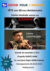 Concert de Soutien à l'Association Espoir pour l'Arménie avec Djampa + Lévon Chatikyan
