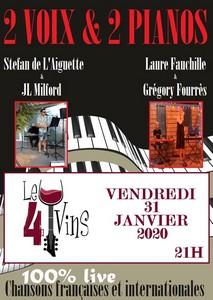 Concert 2 Voix & 2 Pianos (100% Live de Titres Français et Internationaux Revisités)