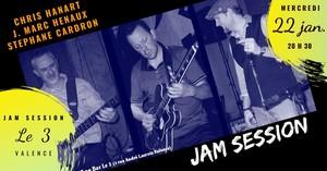 Jam Blues animé par Jean-Marc Hénaux (Harmo), Stéphane Cardron (Basse)  et Christophe Hanart (Guitare/Chant) du Christ Feeling Blues band