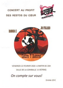 Concert Soutien Restos du Cœur avec Jo Figaro + Carlito y Banditos + RodeoZ